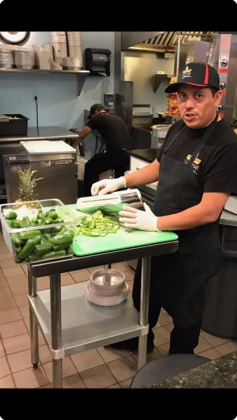 Mexican Burrito being prepared